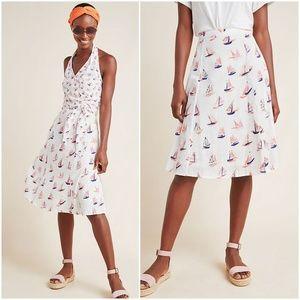 Anthro Sailboat Midi Skirt